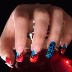 Blue Red Valentine's Day Nail Art