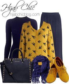 Navy skirt and scarf, black shirt, mustard yellow cardigan and shoes Islamic Fashion, Muslim Fashion, Modest Fashion, Hijab Fashion, Fashion Outfits, Casual Chic, Hijab Casual, Hijab Chic, Modest Dresses