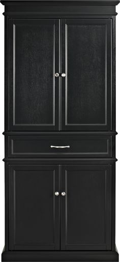 Features:  -Beautiful raised panel doors.  -Free-standing: Yes.  -Includes materials to secure to wall.  Primary Material: -Wood/Manufactured wood.  Shelves Included: -Yes.  Doors Included: -Yes.  Dra