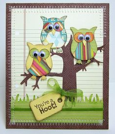 Three colorful owls from Stampin Up Owl Punch Owl Punch Cards, Art Carte, Owl Card, Owl Crafts, Bird Cards, Animal Cards, Card Tags, Card Kit, Copics