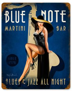 Vintage and Retro Tin Signs - JackandFriends.com - Blue Note Jazz Club Vintage…