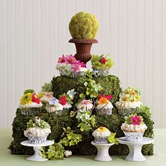 Cupcake Tower - Wedding Cakes with Pictures - Southern Living Cupcake Tower Wedding, Wedding Cakes With Cupcakes, Cupcake Cakes, Cupcake Towers, Cupcake Stands, Decorated Cupcakes, Party Cupcakes, Fun Cakes, Sweet Cakes