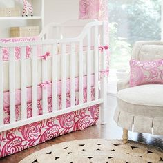 French Quarter Pink Crib Bedding. Hot pink and velvet make for an eclectic nursery perfect for a baby girl.   Our French Quarter Pink Crib Bedding pairs our Hot Pink Velvet Damask fabric with khaki to create a chic and sophisticated look.  French Quarter's crib bumper is made of Buff Solid fabric with Perfectly Pink Solid cording and ties and is slip covered for easy cleaning.