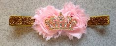 Pink and gold princess headband pink and gold door KenzeesKloset