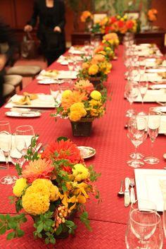 目黒雅叙園/ゲストテーブル/花どうらく/ウェディング/Party /Wedding/decoration/http://www.hanadouraku.com/