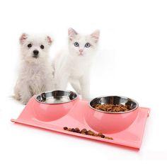 Shop For Cheap Bol Chat 2 Pièces Gamelle Animaux Compagnie Acier Inoxydable Avec Antidérapant Cheap Sales 50% Pet Supplies