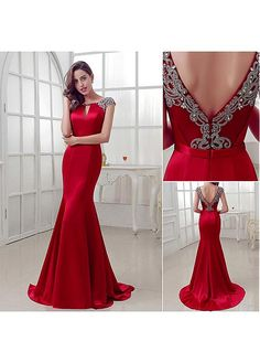 Buy discount Elegant Satin Bateau Neckline Mermaid Evening Dresses With Beadings at Dressilyme.com