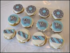 Elephant cupcakes for a boy baby shower