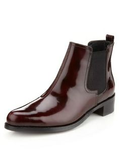 M&S Autograph patent leather chelsea boots in wine with Insolia Flex. £65. Great with skinny jeans and a peacoat.
