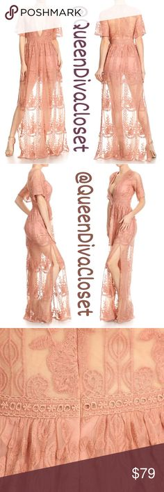 Blush dusty rose pink peach lace short romper maxi This unique gown features a deep v neck, double side slits, flutter kimono style sleeves. Be chic, elegant, and sexy this Spring/ Summer.  Sizing are as follows S 2-4, M 6-8, L 10-12. 🚫Firm price. Offers are not being accepted for this dress🚫 Dresses Maxi