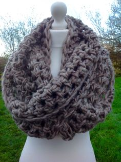 Beige Crochet scarf.  Infinity scarf. Infinity cowl. Cowl. Scarf. Chunky. Katniss inspired cowl. Hunger games scarf. by CloversCrochet on Etsy https://www.etsy.com/listing/213366356/beige-crochet-scarf-infinity-scarf