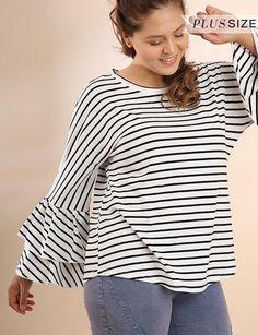 7b5fc33e85 Umgee Striped long ruffle bell sleeve knit casual Top Tee shirt plus XL 1X  2X