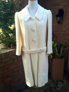 Classic!  Vintage White Boucle Coat