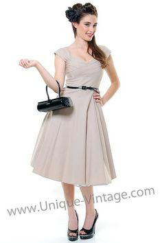 STOP STARING! MAD MEN Tan Pleated Bodice Cap Sleeve Swing Dress - S to 3XL - Unique Vintage - Homecoming Dresses, Pinup & Prom Dresses.
