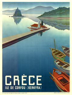 1949 Corfu Greece Travel Poster by Retro Graphics Retro Poster, Poster Ads, Poster Vintage, Vintage Travel Posters, Poster Prints, Old Posters, Beach Posters, Travel Ads, Travel Images