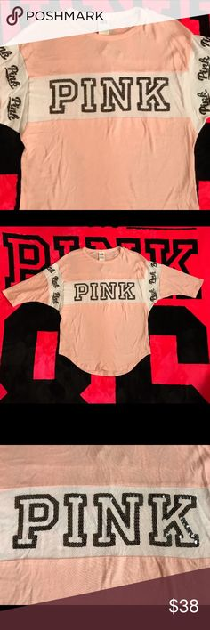 Victoria's Secret PINK BLING Boyfriend Jersey Top New with tags  Retails for $50  Victoria's Secret PINK BLING Boyfriend Jersey Top  The color is a light pink   Sleeves are 3/4 length  Sequin BLING on the front chest and around the sleeves   Great to pair with skinny jeans or leggings  No trades PINK Victoria's Secret Tops Tees - Short Sleeve
