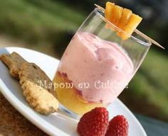 I got this recipe from easy-french-food.com. It's raspberry mousse with 2 very amazing twists. First off, it's made with mascarpone cheese, which is the most glorious of all dessert cheeses. Secondly, it has a caramelized pineapple compote underneath! This is probably one of my favorite desserts :)
