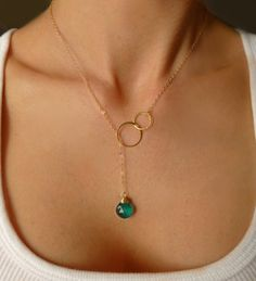 Gold Lariat Necklace - Double Hoop Lariat Necklace - Silver Circle Necklace - Emerald Teal Gemstone Necklace - Modern Quartz Necklace - Gift on Etsy, $42.00