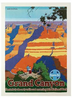 VINTAGE GRAND CANYON SANTA FE TRAVEL A3 POSTER PRINT