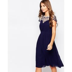 Little Mistress Midi Skater Dress with Cap Sleeves and Embroidery... ($65) ❤ liked on Polyvore featuring dresses, navy, navy dress, midi dress, navy blue dress, navy skater dress and see through dress