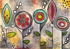 decoart media line paints - art journal page - double spread Más Art Journal Pages, Art Journals, Art Floral, Doodle Art, Posters Wall, Tracy Scott, Illustration Photo, Art Tumblr, Art Disney