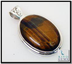 handmade modern style 925 sterling silver jewelry Tiger eye Silver pendant from Riyo Gems www.riyogems.com Tiger Eye Jewelry, Handmade Silver, Pendant Jewelry, Sterling Silver Jewelry, Gemstones, Modern, Style, Swag, Trendy Tree