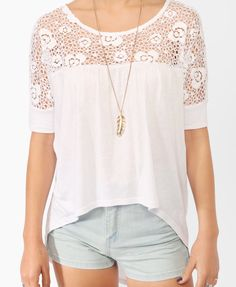 Lace Trimmed High-Low Top | FOREVER21 - 2000046535