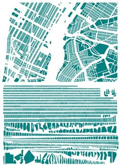 new york city - armelle caron [the famous grids of iconic cities, deconstructed & remixed; link to series of images via brain pickings] Art for art's sake Atelier Theme, Art Concret, Armelle, Urban Fabric, Architecture Drawings, Map Design, City Maps, Deconstruction, French Artists