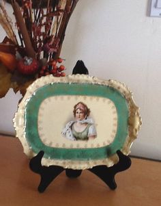 REDUCED! Old 1900's Ladies 12X9 Ceramic Dresser/Vainity Accessory/Jewelry Holder