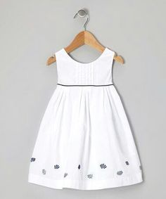 Take a look at this White & Navy Shell Dress - Infant & Toddler on zulily today! Newborn Girl Dresses, Little Girl Outfits, Toddler Girl Dresses, Toddler Outfits, Kids Outfits, Baby Girl Dress Patterns, Baby Dress Design, Fashion Kids, Moda Kids