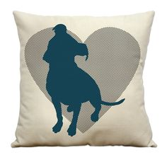 Pit Bull Silhouette and Heart 16 Pillow Natural by DogCityandCo, $24.00