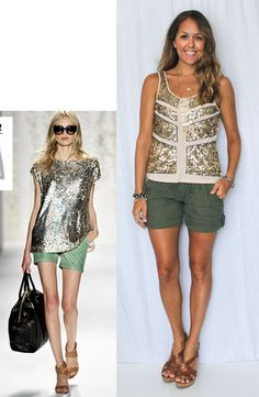 Sequin Top + Olive Green Shorts