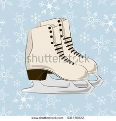 Winter picture. Skates on the blue snowflakes background.