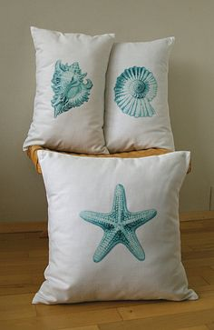 Seashell Cotton Pillow Cover 12x18 PRINT DESIGN by DelindaBoutique, $18.00
