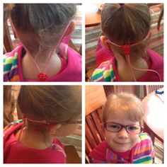 My daughter recently got glasses.  We've been using her glasses cord to keep her glasses in place.  She forgets she's wearing them which has made the transition super easy!  No slipping or sliding - just tighten the cord & tuck it into their shirt.