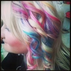 Rainbow hair #colorful #rainbow #hair #blond #obmre #blue #pink #orange #green #turquoese