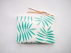 mint white palm leaf clutch