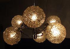 Mid Century 6 Ball Chrome Glass Sputnik Orbit Ceiling Lamp