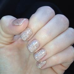 Love! Flesh toned glitter nails  Divinity Salon Encinitas
