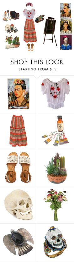 """""""Frida Kahlo"""" by queenstormrider ❤ liked on Polyvore featuring NOVICA, Andy Warhol, GET LOST, Aéropostale, OKA and vintage"""