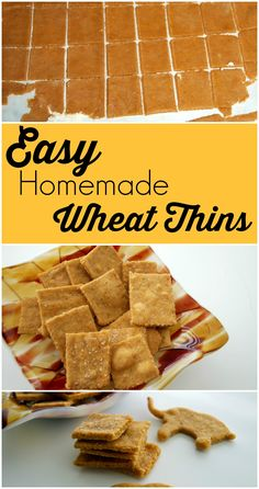 These Easy Homemade Wheat Thin crackers take just a few minutes of prep time and they are fabulous!  Great healthy recipe.