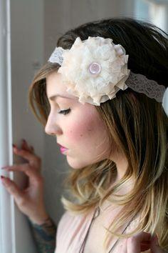 white heaven ruffle headband