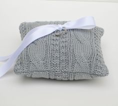 Gray cable knit winter ring bearer pillow