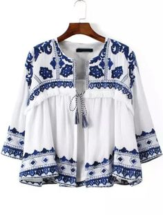 Love, love, love this outerwear !!! Blue White Knotted Embroidered Crop Outerwear from m.shein.com