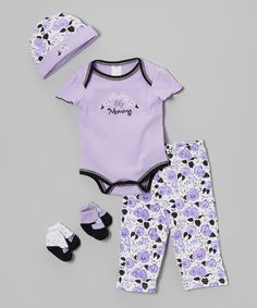 Another great find on #zulily! Baby Essentials Purple 'Pretty Like Mommy' Five-Piece Layette Set by Baby Essentials #zulilyfinds