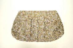 AMBRE BABZOE Beige/Silver Dotu Clay Sequined Evening Bag/Handbag  #AmbreBabzoe #EveningBag