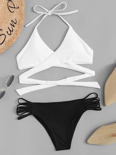 To find out about the Two Tone Wrap Top With Ladder Cut-out Bikini at SHEIN, part of our latest Bikinis ready to shop online today! Cute Swimsuits, Cute Bikinis, Cute Summer Outfits, Cute Outfits, Bikini Outfits, Bikini Dress, Cut Out Bikini, Bikini Ready, Girls Bathing Suits