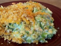 "Broccoli Casserole with no ""cream of something"" soup. It has Cream Cheese instead."