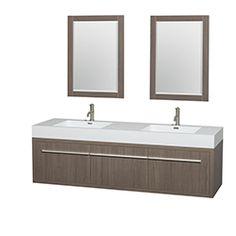 """72"""" Axa Wall-Mounted Bathroom Vanity Set with Integrated Sink by Wyndham Collection - Gray Oak #BathroomRemodel #BlondyBathHome #BathroomVanity  #ModernVanity"""