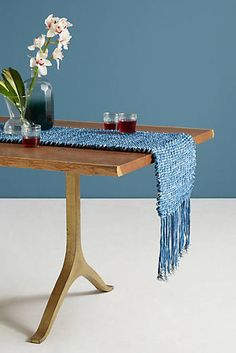 Tufted Indigo Table Runner